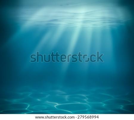 ocean or sea deep underwater background - stock photo