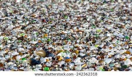 Ocean polished glass shards and stones. Glass Beach in the MacKerricher State Park (California, USA) - stock photo