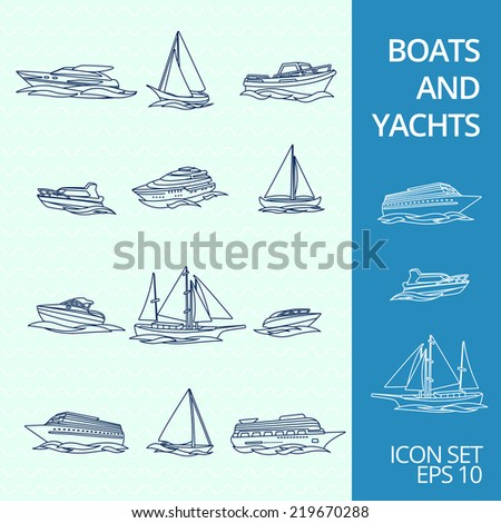 Ocean recreation cruise motor boats and sportive competitive sailing yachts outline sketch icons set isolated  illustration - stock photo