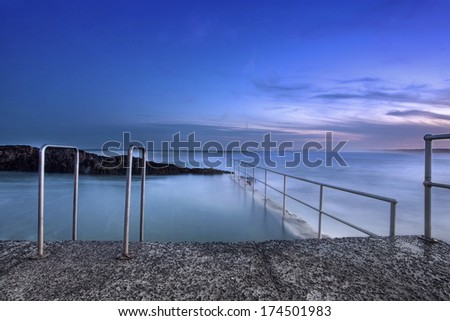 ocean rock pool in low light