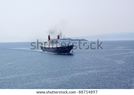 Ocean ship liner on a travel cruise