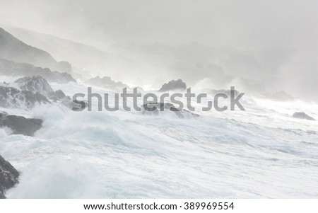 Ocean storm California West Coast Route 1 - stock photo