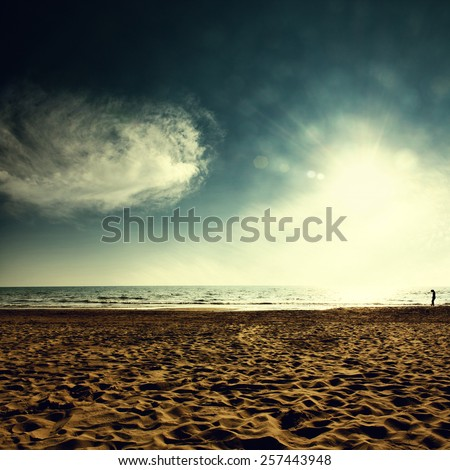 Ocean sunset - stock photo