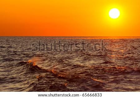 ocean-sunset - stock photo