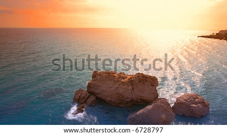 Ocean sunset in Spain in October - stock photo