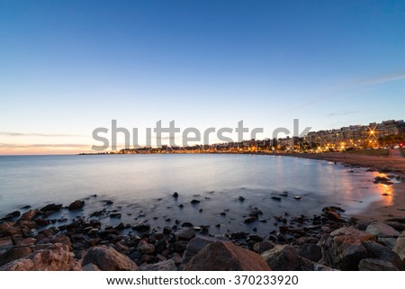 Ocean Sunset over Montevideo Uruguay, South America - stock photo