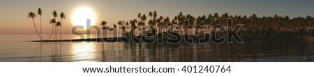 ocean sunset, sea sunset tropical island, banner, 3D rendering - stock photo