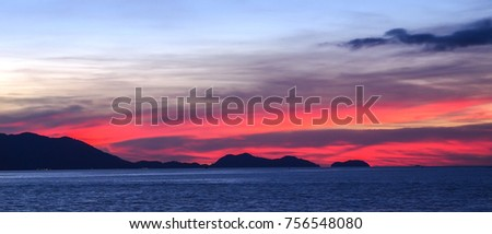 Ocean sunset with red sky, Koh Chang, Thailand