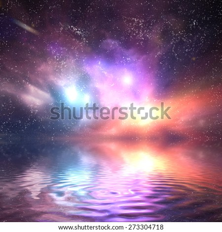 Ocean under galaxy, space sky. Stars, lights, fantasy background. Water reflection - stock photo