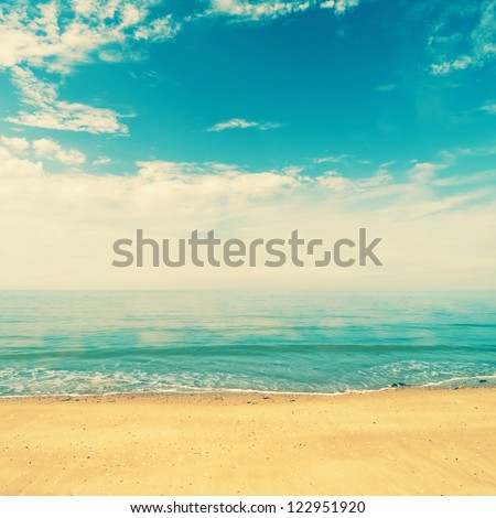Ocean view from beach with retro look - stock photo