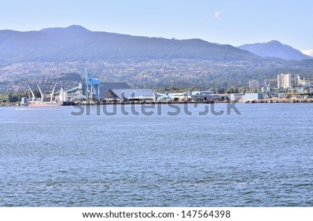 Ocean view from Stanley Park in Vancouver BC - stock photo