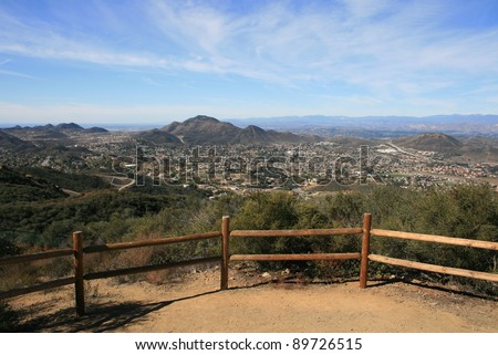 Ocean view from Thousand Oaks, California - stock photo