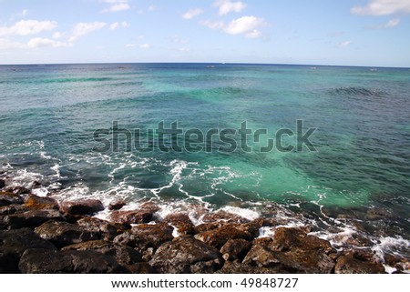 Ocean view in Hawaii sea side. - stock photo