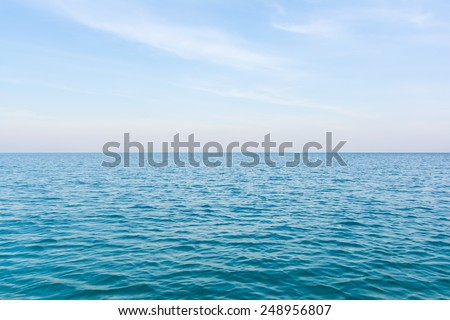 Ocean view of beautiful calm sea in blue sky.