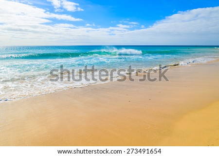 Ocean wave water on beautiful Jandia beach, Morro Jable, Fuerteventura, Canary Islands, Spain