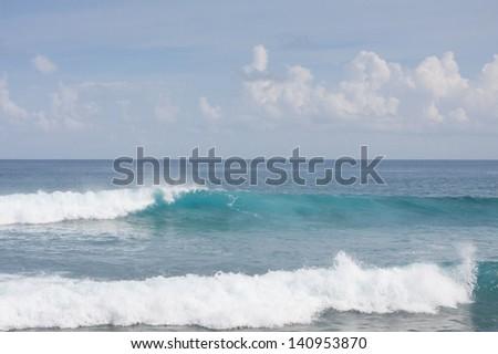 Ocean waves at Maldivian shore - stock photo