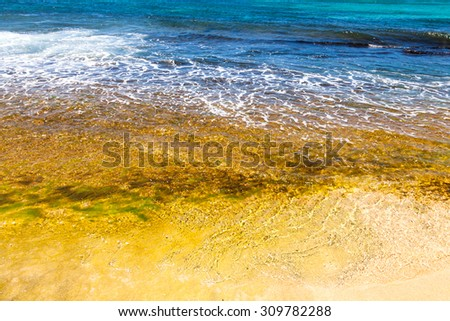 Ocean waves crashing on shore - stock photo