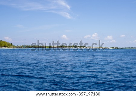 Ocean waves, Maldives paradise island, beach, holiday and lagoon at ocean. - stock photo