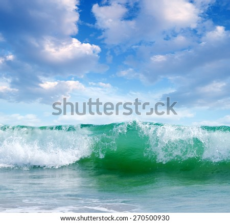 ocean waves, storm 6 points on a sunny day - stock photo