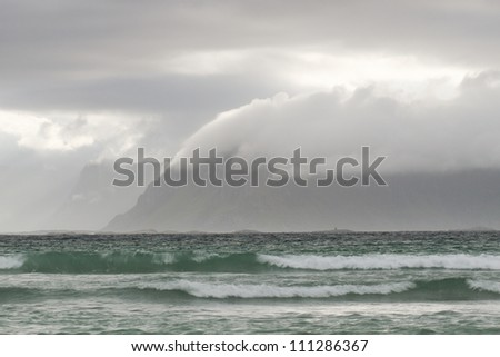 Ocean with mountains