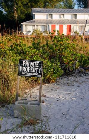 Oceanfront Beach Condominium Sanibel Island at Sunrise ; Private Property - stock photo