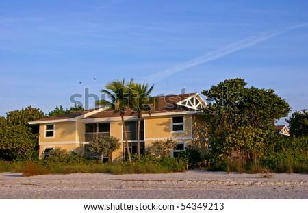 Oceanfront Beach House Morning Sanibel Island Florida - stock photo