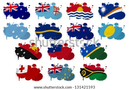 Oceania countries flag blots on a white background