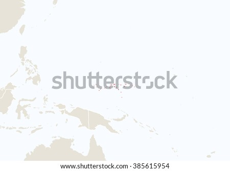 Oceania with highlighted Micronesia map. Raster copy.  - stock photo