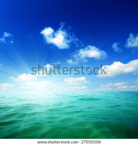 oceans water and blue sky - stock photo