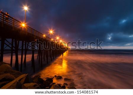 Oceanside Pier at Dusk in San Diego - stock photo