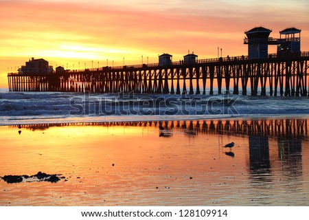 Oceanside Pier Reflections - stock photo