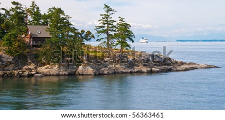 Oceanview house on island in Vancouver, Canada. - stock photo