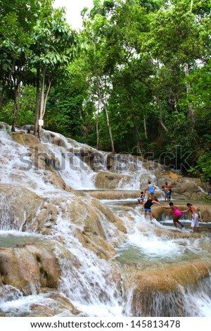 Ocho Rios is a town on the northern coast of Jamaica, located in the parish of Saint Ann. It is a popular tourist destination, well known for scuba diving and other water sports  - stock photo