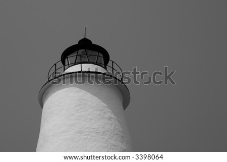 Ocracoke Lighthouse Tower Top in Black & White - stock photo