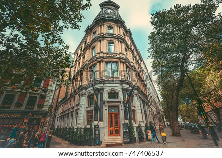 Oct 22, 2017 - London, UK : Street view of Charing Cross Road, London.