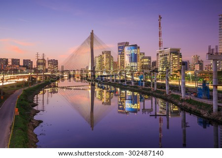 Octavio Frias de Oliveira Bridge in Sao Paulo Brazil at twilight - stock photo
