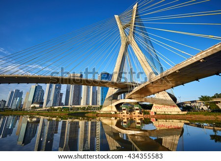 Octavio Frias de Oliveira Bridge in Sao Paulo Brazil South America
