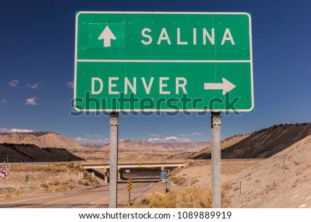 OCTOBER 2017 - American Road Signs along roadways - shows directions to Salina and Denver