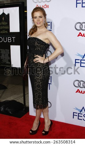 "October 30, 2008. Amy Adams at the 2008 AFI FEST Opening Night Gala Presentation of ""Doubt"" held at the ArcLight Theater, Hollywood.  - stock photo"