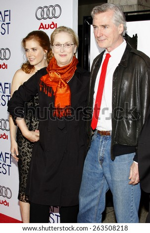 "October 30, 2008. Amy Adams, Meryl Streep and John Patrick Shanley at the 2008 AFI FEST Opening Night Gala Presentation of ""Doubt"" held at the ArcLight Theater, Hollywood.  - stock photo"