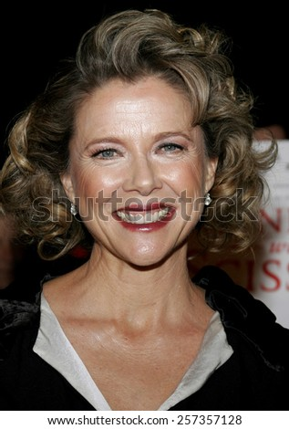 """October 10, 2006. Annette Bening attends the World Premiere of """"Running with Scissors"""" held at the Academy of Motion Picture Arts and Sciences in Beverly Hills, California United States.  - stock photo"""