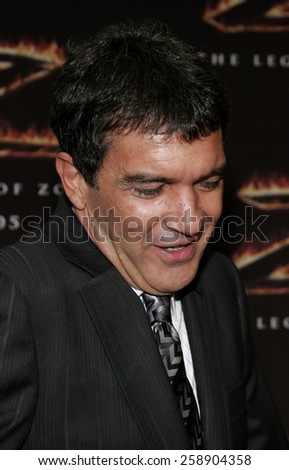"October 16, 2005. Antonio Banderas at the Columbia Pictures' ""The Legend of Zorro"" Los Angeles Premiere at the Orpheum Theatre Los Angeles, California United States."