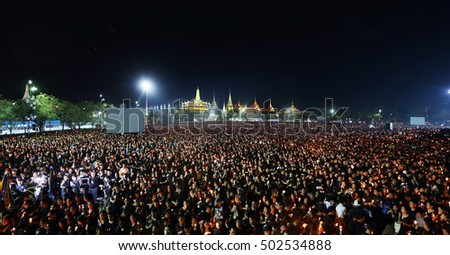 October 22, 2016 at Sanam Luang, large number of people attending the event to sing a song in remembrance of King Bhumibol Adulyadej after his death on October 14.