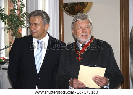 OCTOBER 6, 2009 - BERLIN: Klaus Wowereit, Hardy Krueger at a reception in the City Hall of Berlin.