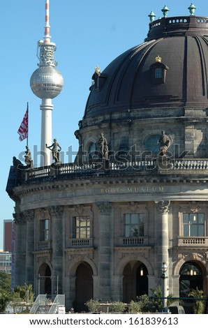 "OCTOBER 2006 - BERLIN: television tower, the Bode Museum on the museum island (""Museumsinsel"") in the Mitte district of Berlin."