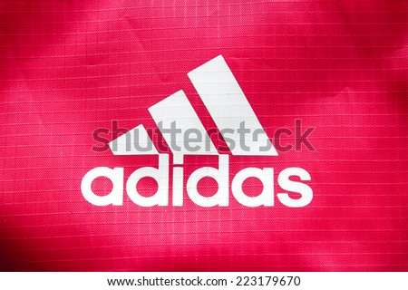 "October 2014 - BERLIN: the logo of the brand cloth bags ""Adidas"","