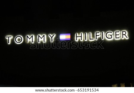 "OCTOBER 2016 - BERLIN: the logo of the brand ""Tommy Hilfiger"", Berlin."