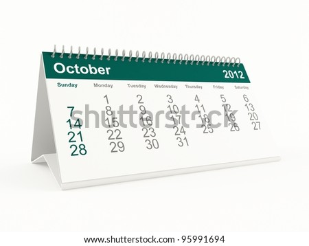 October 2012 calendar - stock photo