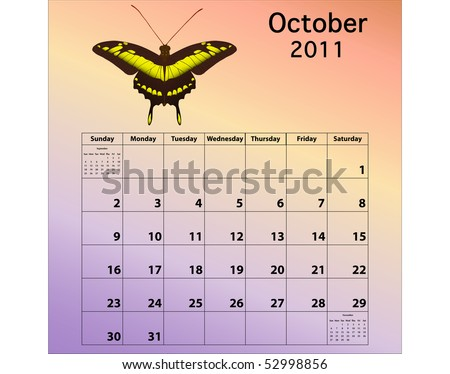 October 2011 calendar with butterfly - stock photo