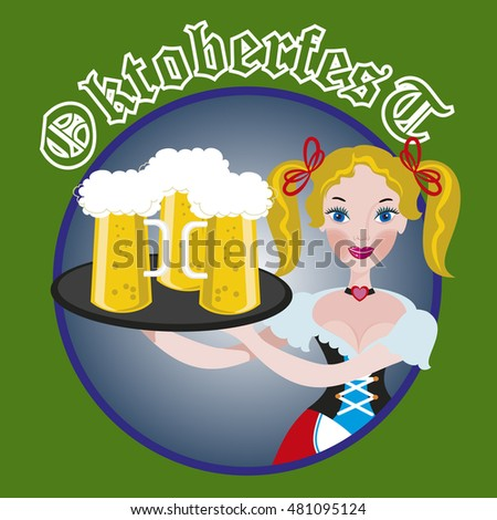 October fest Girl with beer isolated icon rounded illustration